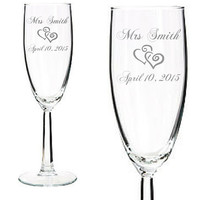 Set of 2 - Engraved Wedding Champagne Glass - Custom Name - Wedding Toasting Glasses with Hearts- Bride & Groom