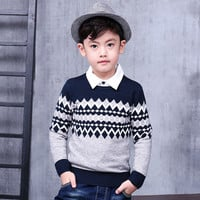 Pioneer Kids Retail Autumn\Winter Children's casual striped boy cardigan sweater pullover  boys sweater Height for 100-140cm.