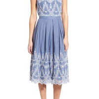 KENDALL + KYLIE Cotton Eyelet Halter Dress | Nordstrom