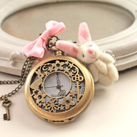 Alice in Wonderland White Rabbit locket Watch  necklace plush bunny