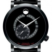 Movado Red Label Men's Black PVD Stainless Steel Case Alligator Band Automatic Calendomatic 42mm Watch 0606485
