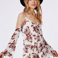 Missguided - Floral Cut-Out Shoulder Playsuit Multi