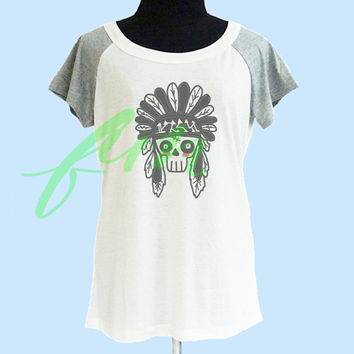 Skull head shirt thin soft tops**off white grey**wide neck sweatshirt, crew neck tshirt size S M L  **quote tshirt