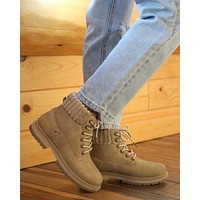 Dirty Laundry - Alpine Cozy Sweater Cuff Ankle Lug Boots in Stone
