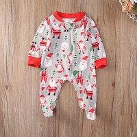 Christmas Newborn Infant Baby Boy Girl Kids Cotton Long Sleeve Romper Santa Claus Jumpsuit Clothes Outfit