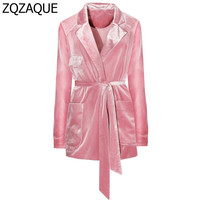 Pink Color Long Pleuche Blazers With Sashes Fashion Brief Simple European Style Women's Trendy Outwear Lady's Pocket Coats SY928