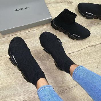 Balenciaga stitching color high-top embroidery letters platform casual shoes sneakers Socks shoes sneakers 1