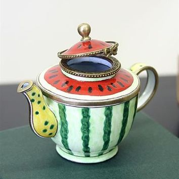 Watermelon Painted Miniature Porcelain with Stripes and Seeds Teapot