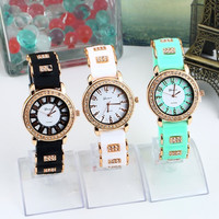 Bling Crystal Golden Women Girl Ladies Quartz Silicone Wrist Watch Strap = 1956811012