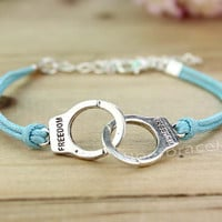 Fashion bracelet - silver handcuffs bracelet - light blue leather cord bracelet - gift for girlfriend and BFF