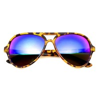 Retro 1980's Fashion Large Mirror Lens Aviator Sunglasses 9476