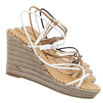 Announce03 Thin Strap Espadrille Wedge -Women Woven Platform Barely There Sandal