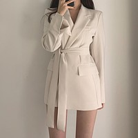 Womens Blazer Ladies Slim Suit Jackets Korean Fashion Coat Lace Up Waist Solid Color Office Blazer