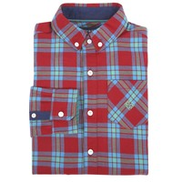 Bright Red Plaid Flannel Shirt