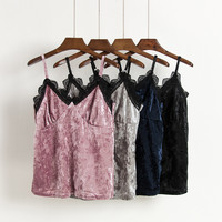 Women Sexy V Neck Velvet Camis Tank Top Autumn 2017 Vintage Black Velour Camisole Crop Top Lace Side Pink Short Top Gray Cropped
