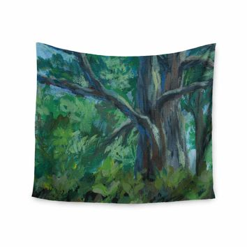 "Cyndi Steen ""Florida Pine"" Green Blue Painting Wall Tapestry"