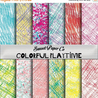SALE Coloring Playtime Digital Printable Paper, Download Now to Use Instantly, Colorful and Fun Prints, Unique Crafting Paper for Art Projec