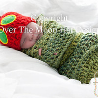 Mr Caterpillar Hat and Cocoon set by OverTheMoonHatDesign on Etsy