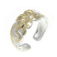 925 STERLING SILVER HAWAIIAN PLUMERIA FLOWER SCROLL YELLOW GOLD 2T TOE RING 8MM