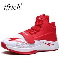 Ifrich Sport Basketball Shoes for Men Comfortable Male Gym Leather Training Shoes High Top Black Orange Man Basdketball Boots