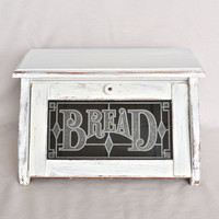 Vintage White Shabby Chic Distressed Wooden Bread Box with Glass Front