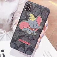 COACH & Dumbo New fashion pattern elephant print couple mobile phone case protective case Black