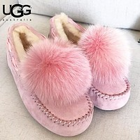 Bunchsun UGG Autumn And Winter Fashion New Keep Warm Fur Puffer Ball Women Lazy Shoes  Pink