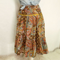Retro gypsy Hippie paisley full skirt
