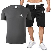 JORDAN Fashion Men Casual Print Short Sleeve Top Shorts Sport Set Two-Piece Grey