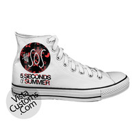5 seconds of summer Logo 5sos White shoes New Hot Shoes