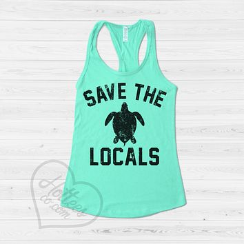 Save the Locals Turtle Tank Top
