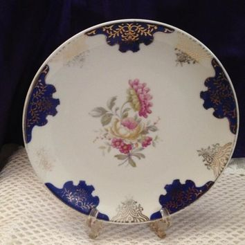 Eschenbach Display Plate Cobalt & Floral Decoration, Bavarian China, Cottage Chic Vintage Cabinet Plate, 1930s - 40s