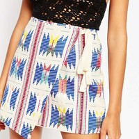 ASOS Wrap Mini Skirt With Embroidery And Grosgrain Tie