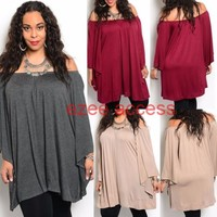 New SeXy Women Plus Size On Off Shoulder Long Angels Sleeve Tunic Top Blouse 1-3