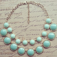 Mint Statement Necklace- Aqua Statement Necklace- Kate Spade Necklace, Statement Necklace, Bib Necklace- Bubble Bib-Bib Necklace