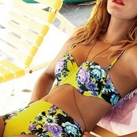 Yellow Purple Blue Black Floral Push Up Halter Bra Top High Waist Brief Bottom Two Piece Bikini Swimsuit