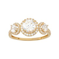 Cubic Zirconia 3-Stone Halo Engagement Ring in 10k Gold (White)