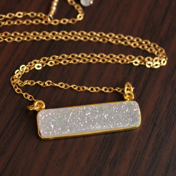 White Druzy Necklace, Gold Filled, Raw Rainbow Crystal Drusy Pendant, Bar Necklace, Simple Jewelry, Free Shipping