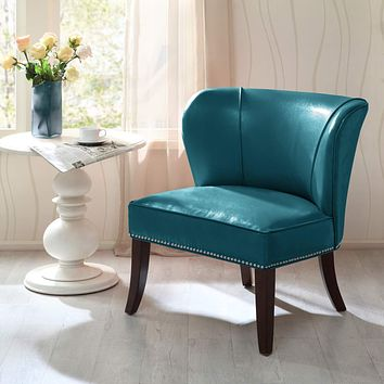 Madison Park Hilton Accent Chairs - Hardwood, Plywood, Wing Back, Deep Seat Bedroom Lounge Modern Classic Style Living Room Sofa Furniture, Blue See below