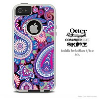 The Purple Paisley Pattern Skin For The iPhone 4-4s or 5-5s Otterbox Commuter Case