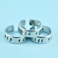 big sis/mid sis/ lil sis  -  Hand Stamped Rings Set, Handwritten Font, Shiny Aluminum, Forever Love, Friendship, BFF, V1