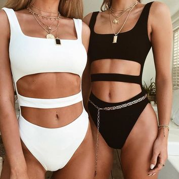 Casual Pants Sexy Hollow Out Summer Women's Fashion Jumpsuit [747997888628]