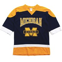 University of Michigan Arch & Bar M TD Athletic Mesh Hockey Jersey Navy (Youth Large)
