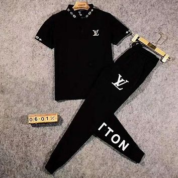 LV Louis Vuitton Newest Men Casual Print Shirt Top Tee Pants Two-Piece Set Sportswear