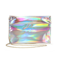 Hologram Clutch Bag in Multicolor