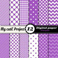Digital paper pack - Purple  - Instant Download - Scrapbooking & graphic design - 12x12 - A4 - Polka dots, heart, chevron, gingham
