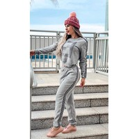 FENDI New Hot Sale Women Leisure Print Long Sleeve Top Pants Set Two-Piece Sportswear Grey