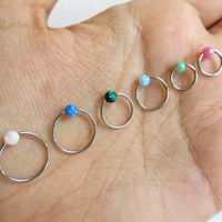 16 18 Gauge Captive Hoop Synthetic Fire Opal Piercing Earring Cartilage Helix Belly Button Nose Jewelry Blue Green White Pink Rook Tragus