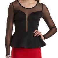 Mesh Yoke Quilted Peplum Top by Charlotte Russe