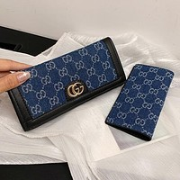 GG embroidered letters denim stitching color clamshell wallet long clutch Bag Blue
